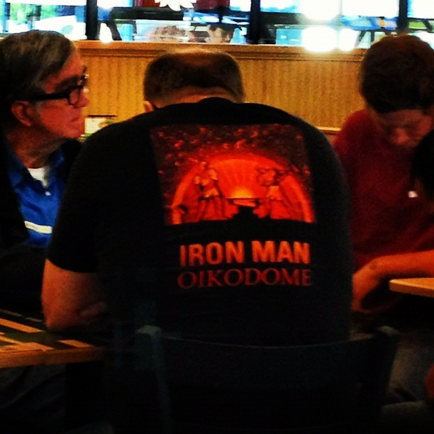 IRON MAN OIKODOME - BACK OF SHIRT ON BALD GUY